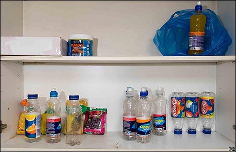 The inside of a cupboard, containing plastic bottles