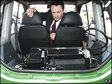 The back of a car powered on hydrogen fuel - generic