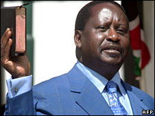 Raila Odinga takes his oath of office as prime minister