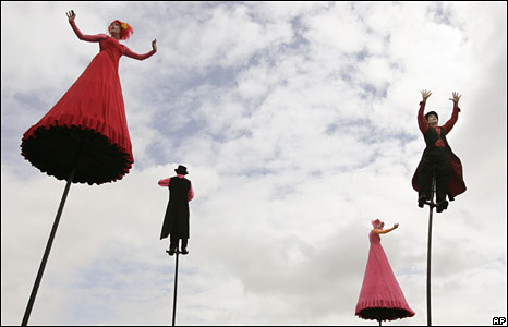 Members of the Strange Fruit arts group perform in Sydney, 17 April 2008