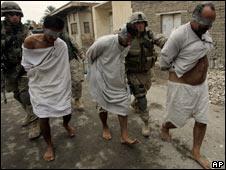 US troops take men away in Fallujah