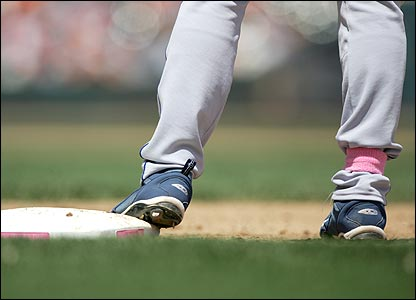 Baseball players wore pink bands to honour Mothers day in 2007 and raised money for a breast cancer charity