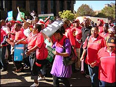 Cosatu members march in Johannesburg