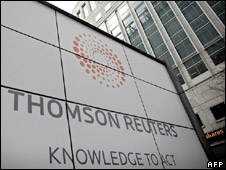 Thomson Reuters sign outside its Canary Wharf offices