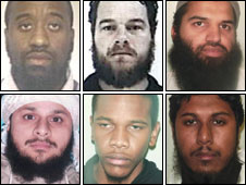 Top row (left to right): Abu Izzadeen; Simon Keeler; Abdul Muhid. Bottom row (left to right): Abdul Saleem; Ibrahim Hassan; Shah Jalal Hussain.