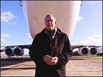 Gerry Northam by an aeroplane