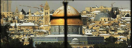 Church and mosque in Jerusalem