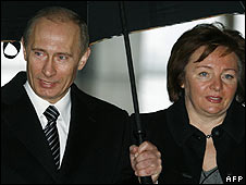 Vladimir and Lyudmila Putin, pictured 2 March 2008