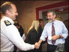 Sir Hugh Orde and Gerry Adams at a previous meeting