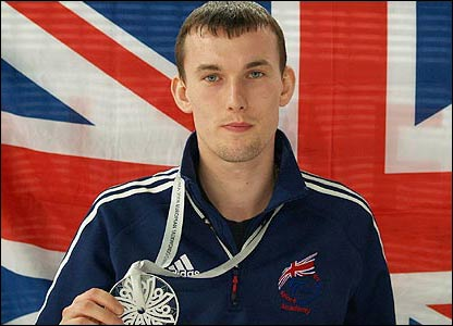 Martin Stamper shows off his silver medal