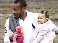 Thierry Henry with daughter Tea