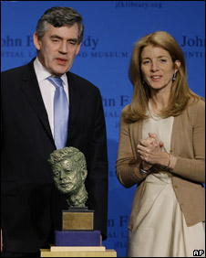 Gordon Brown and  Caroline Kennedy