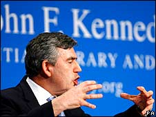 Gordon Brown giving speech at Kennedy Library 18/4/08