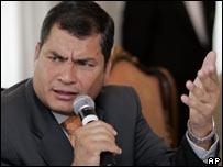 El presidente Rafael Correa