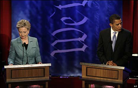 Hillary Clinton and Barack Obama at Democratic debate 16/4/08