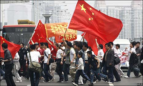 Anti-French protesters in Chinese city of Wuhan on Saturday