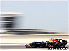 Mark Webber's Red Bull on the way to seventh place at the Bahrain Grand Prix