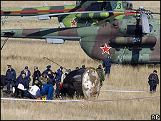 Soyuz capsule after landing 19 April