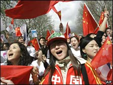 Pro-Beijing protesters in the Place de la Republique in Paris on Saturday