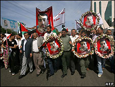 Palestinian journalists at the funeral  in Gaza City for Fadel Shana, Reuters cameraman - 17/4/2008