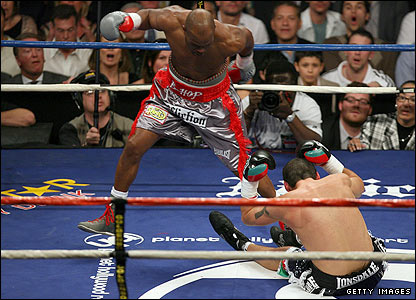 A straight right hand from Bernard Hopkins floors Calzaghe
