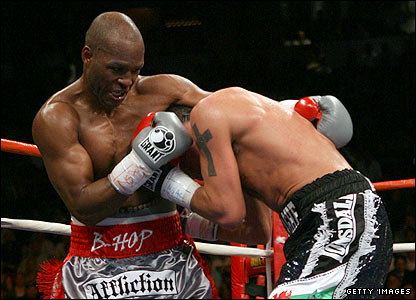 Hopkins lands a blow on Calzaghe