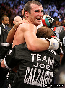Calzaghe celebrates his win