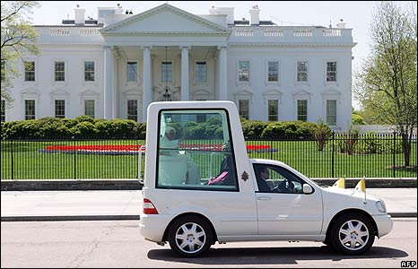 Popemobile outside White House 16 April 2008