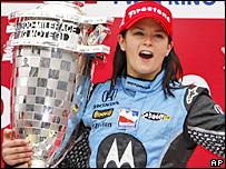 Danica Patrick celebrates her win