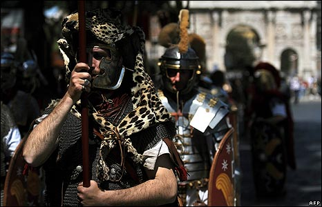 Men dressed as Roman soldiers 20 April
