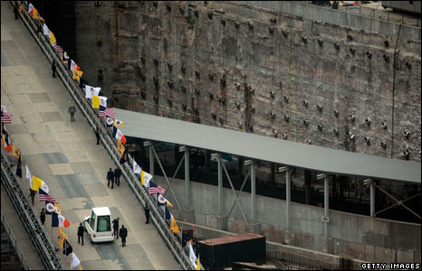 The Popemobile heads towards the Ground Zero site, 20 April 2008