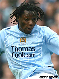Benjani scores his goal for Manchester City