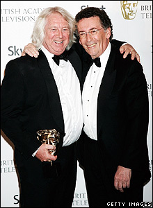Holby City producer Tony McHale (left) and actor Robert Powell