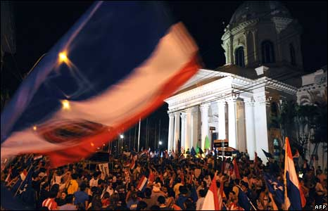 Lugo supporters celebrate in Asuncion