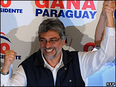 Former Roman Catholic bishop Fernando Lugo, victor in Paraguay's presidential elections