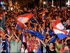 Crowds celebrate election results, Asuncion, Paraguay