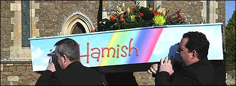 Hamish Broadhurst's coffin
