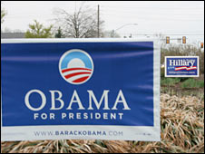 Campaign posters for Obama and Clinton in the Pennsylvania countryside