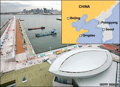 The Qingdao Sailing Center and a map of China