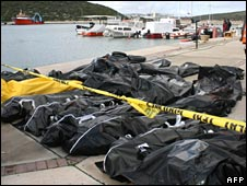 The bodies of would-be immigrants whose boat sank in the Aegean Sea (Turkey, December 2007)