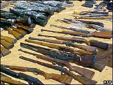 Cache of guns seized by Paraguayan officials in Pedro Juan Caballero, September 2006