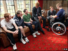 Princes Harry and William meet patients at Headley Court