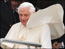 The Pope returns home at Rome's Ciampino airport on 21 April 2008