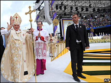 The Pope celebrates mass at Yankee Stadium in New York on 20 April 2008