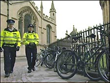 Police patrols at the University of Oxford