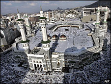 File photo of Muslim pilgrims attending prayers at the Grand Mosque in Mecca, Saudi Arabia.