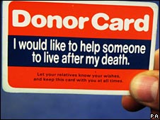 British donor card