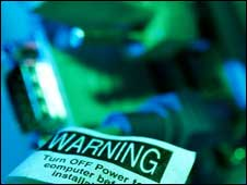 Warning label on computer, Eyewire