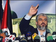 Hamas leader Khaled Meshaal in Damascus, 21/04/08