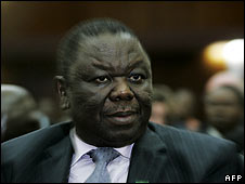 Zimbabwean opposition leader Morgan Tsvangirai at SADC meeting in Lusaka on 12 April